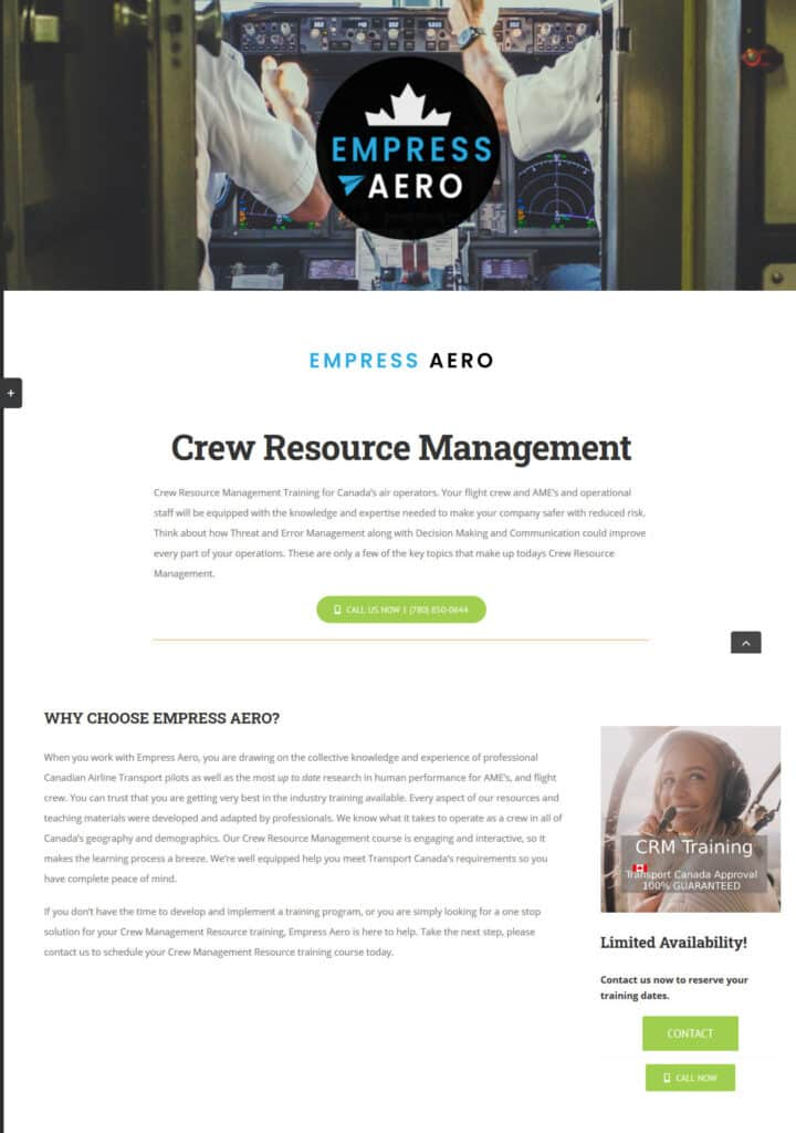 Web Design Client: Empress Aero